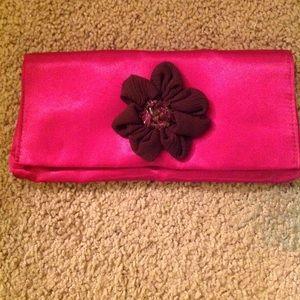 "Handbags - Hot Pink Clutch with Flower Garnish 10""x5"""